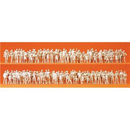Preiser 16343 Passagerare och resenärer. omålade vita, 130 st