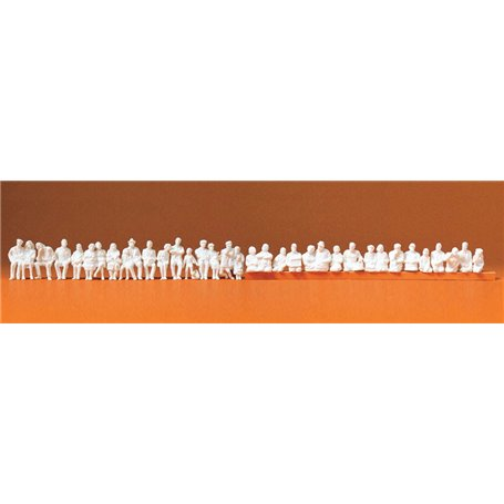 Preiser 16349 Sittande figurer. omålade vita, 36 st
