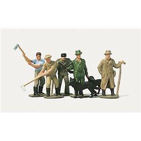 Merten N 0891 Skogsarbetare med verktyg och hund, 5 st