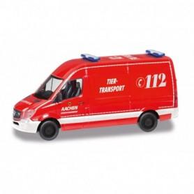 Herpa 095389 Mercedes-Benz Sprinter 13 box truck 'Feuerwehr Aachen|Tier-Transport'