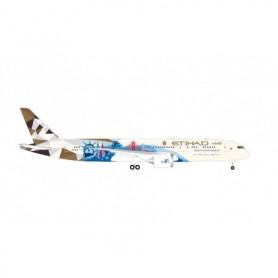"""Herpa Wings 534543 Flygplan Etihad Airways Boeing 787-9 Dreamliner – A6-BLE """"Choose the USA"""""""