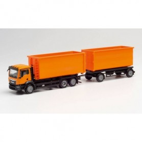 Herpa 311380 MAN TGS NN roll-off containert ruck with trailer, communal orange