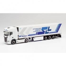 "Herpa 312189 Scania CS 20 HD refrigerated box trailer ""SLL | Schumacher Logistik Luxemburg'"