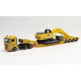 "Herpa 312301 MAN TGX XLX heavy duty truck with excavator ""Leonhard Weiss"""
