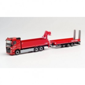 "Herpa 312332 Volvo FH FD flatbed truck with crane and low bed trailer ""Kutter"""