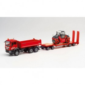 """Herpa 312349 MAN TGS M construction tipper with trailer and roller """"Kutter HTS"""""""