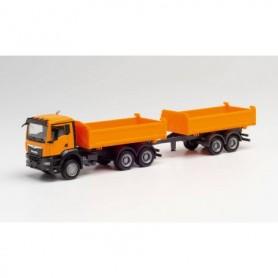 Herpa 312370 MAN TGS NN Tandem construction tipper trailer truck, communal orange