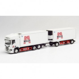 """Herpa 312448 Scania CR 20 HD refrigerated box truck with trailer """"Müller"""""""