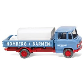 """Wiking 27102 Flatbed truck with mount. tank (MB L 408) """"Homberg"""""""