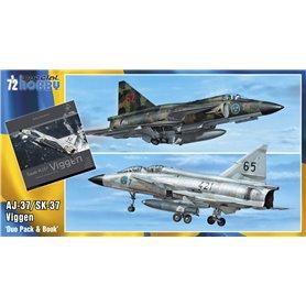 """Special Hobby 72411 Flygplan Saab AJ-37/SK-37 """"Viggen"""" Duo Pack & Book"""""""
