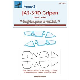 Peewit 72069 Canopy masking Saab JAS-39D Gripen twin seater (designed to be used with Revell kits)