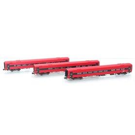"""ASM 188688 Vagnsset med 3 personvagnar typ NSB B7-6, AB7-3 och BC7-1 """"Oslo"""""""
