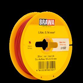 Brawa 3152 Kabel, 25 meter, röd, 0.14 mm²