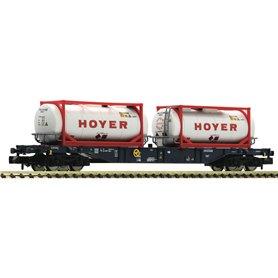 "Fleischmann 825216 Containervagn Sgns CEMAT med last av tankcontainers ""Hoyer"""