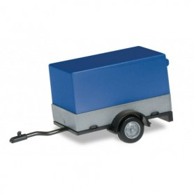 Herpa 051576-003 Car trailer with open canvas, canvas blue