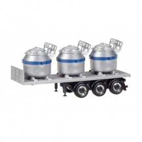 Herpa 076838-002 Trailer with 3 aluminum pots, stripes blue