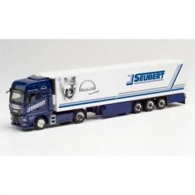 Herpa 312714 MAN TGX GX refrigerated box semitrailer 'Seubert | Blue Lady 2020'