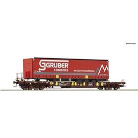 "Roco 76231 Flakvagn med last av trailer Sdgmns 33 typ ""Gruber Logistics"""