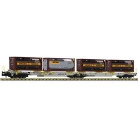 """Fleischmann 825026 Dubbel containervagn T2000 """"Bertschi AG"""""""