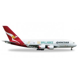 "Herpa Wings 528917.1 Flygplan Qantas Airbus A380 ""Wallabies"" avbrutet hjul"