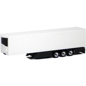 Herpa Exclusive 630560 Kyltrailer Medi Euro, 3-axlig, vit med svart chassie, krom/svarta fälgar