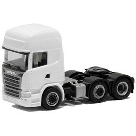Herpa Exclusive 580394 Dragbil Scania R Topline 2013, 3-axlig, vit med svart chassie