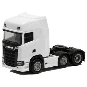 Herpa Exclusive 580453 Dragbil Scania CS HD V8, 3-axlig, vit med svart chassie