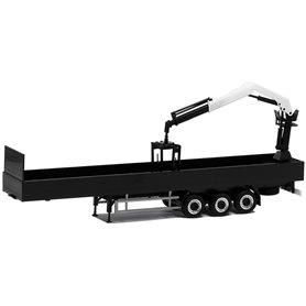 Herpa Exclusive 671405 Eurotrailer 3-axlig med last kran, svart med svart chassie