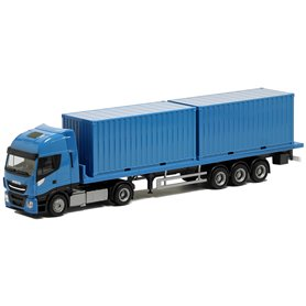 Herpa Exclusive BM936491 Bil & Trailer Iveco Stralis XL 2 x 20ft container, ljusblå med svart chassie
