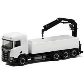 Herpa Exclusive BM934787 Lastbil Scania CR FD med lastkran, vit med svart chassie