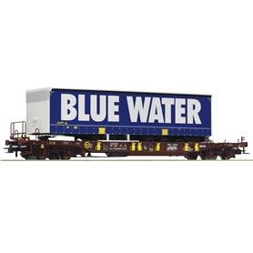 """Roco 76229 Flakvagn med last av trailer Sdgmns 33 """"Blue Water"""""""