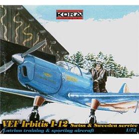 Kora Models 72112 Flygplan VEF Irbitis I-12 Swiss and Swedish service, med svenska dekaler