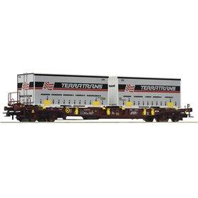 """Roco 76228 Flakvagn med last av trailer Sdgmns 33 """"Terratrans"""""""