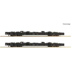 Roco 34067 2 piece set H0e roll wagons, DR