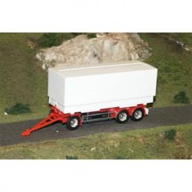 AMW 90606 Trailer, 3-axlig med container växelflak kapell 7,15 m, vit, omärkt, kromade hjul, delbar.