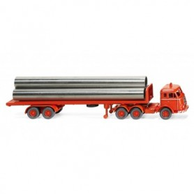 Wiking 55404 Flatbed semi-trailer truck (Henschel) - luminous red
