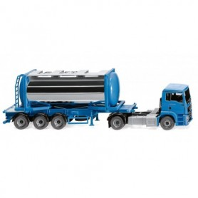 Wiking 53605 Swap tank container semi-truck (MAN TGS Euro 6c) - sky blue
