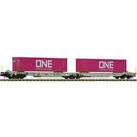 """Fleischmann 825027 Dubbel containervagn T2000 """"ONE"""""""