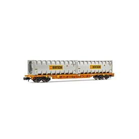 "Arnold HN6443 Flakvagn Wascosa med last av 2 x 30' bulk containers ""Bertschi"""