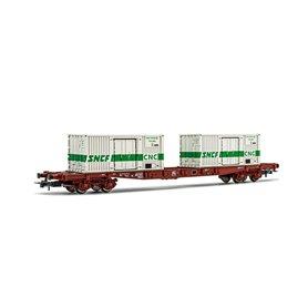 "Jouef HJ6195 Flakvagn S68 typ SNCF med last av 2 x 20' containers ""SNCF"""