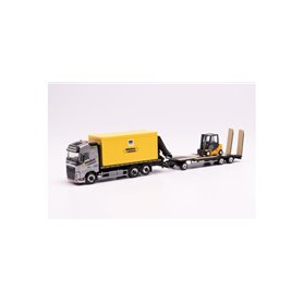 "Herpa 312769 Volvo FH Gl. flat truck with container and crane and Goldhofer TU3 with fork lift ""Wallek & Geser"" (Bayern/Garch..."