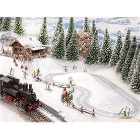 Noch 66832 Micro-motion Cross-Country Ski Trail with Aprés-Ski Cabin