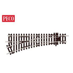 Peco ST-241 Växel, vänster, kort, radie 438 mm, vinkel 22,5° längd 168 mm
