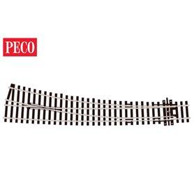 Peco SL-E186 Kurvväxel, höger, radie 1524/762 mm, längd 255 mm