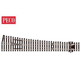 Peco SL-E188 Växel, höger, lång, slank, radie 1524 mm, vinkel 12°, längd 258 mm.
