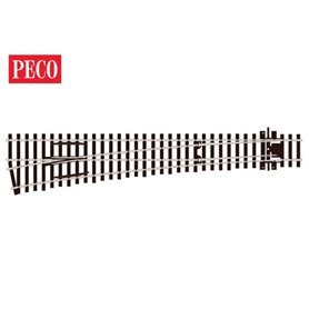 Peco SL-E189 Växel, vänster, lång, slank, radie 1524 mm, vinkel 12°, längd 258 mm.