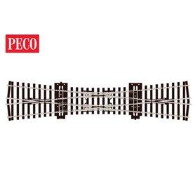 Peco SL-E190 Korsningsväxel, dubbel, radie 610 mm, vinkel 12°, längd 249 mm.