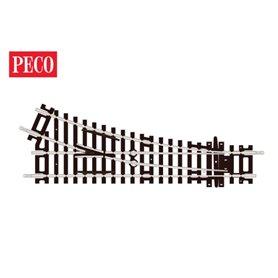 Peco ST-240 Växel, höger, kort, radie 438 mm, vinkel 22,5° längd 168 mm