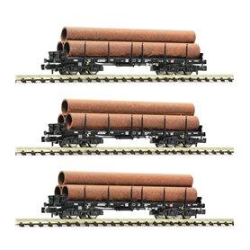 Fleischmann 826702 vagnsset med 3 stolpvagnar typ DB AG med last av rör