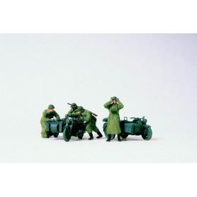 Preiser 16580 Motorcykelbesättning med Zündapp KS 750 1939-45, 2 st med sidovagn